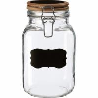 Premier 標記扣式玻璃密封罐(木2L)