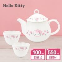 凱蒂貓優雅玫瑰骨瓷茶壺3件組