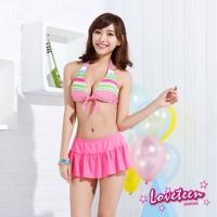 (LOVETEEN)[] Summer Love LOVETEEN striped sweet wind pants two-piece bikini swimsuit skirt even