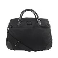 (agnesb)agnes b. leather-trimmed thick nylon travel bag (large / black)