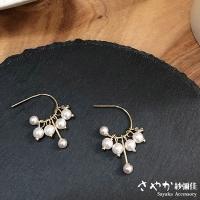 (sayaka)[Sayaka Yarn Mi Jia] sterling silver cherished for your C-shaped pearl zircon tassel dangle earrings