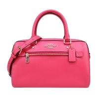 (COACH)COACH Carriage Plain Anti-scratch Leather Portable/Crossback Boston Bag (Glossy Pink)