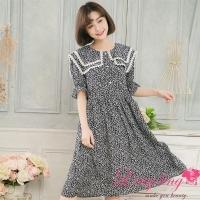 Lingling medium size A4123-01 pure age floral broken sailor collar lotus leaf beam dress (sweet blue)