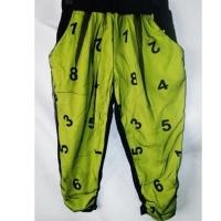 (GIFT)GIFT-Digital Green-Cotton mesh women's cropped trousers