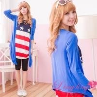 lingling A1636-02 Xia Yang Light sweet macarons color irregular hem blouse (Infusion blue)