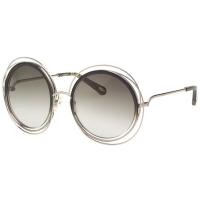 (chloe)CHLOE Metal Large Frame Sunglasses (Light Gold + Gray Black)