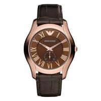 (Emporio Armani)Empire Emporio Armani crocodile fashion small seconds crocodile leather watch (coffee / rose gold)