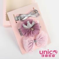 (UNICO)UNICO European and American Baby Sweet Crown Bow Hairband 3pcs Gift Box-Taro Purple Series