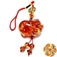 (紅運當家)[Red Luck Master] Natural Flower Amber Ruyi Large Charm Charm (Main Pendant Length 48mm)