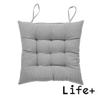 【Life+】日系無印風 棉麻格紋透氣坐墊/椅墊/靠墊(淺灰)
