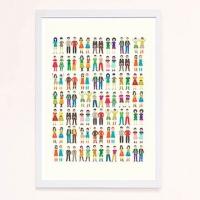 【摩達客】西班牙知名插畫家Judy Kaufmann藝術創作海報掛畫裝飾畫-雙胞胎集合! (附簽名)(含木框)