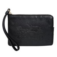 (coach)COACH black carriage branded full leather zipper clutch