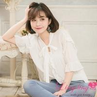 lingling medium and large size A4131-03 elegant and fashionable V-neck tie lotus leaf design five-point short-sleeved top (elegant white)