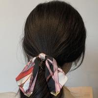 (charme)Charme Korean Popular French Elegant Wind Scarf Bowknot Temperament Retro Hair Tie-Black