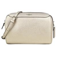 (coach)COACH carriage LOGO scratch-resistant leather cross-body Boston bag (gold)