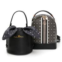 (playboy)PLAYBOY-Small Backpack Reproduced Modern Black Crystal Rabbit 2.0 Series-Dark Gray