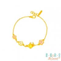 (snoopy)Sweet Arrangement 2SWEET Heart Flower Snoopy Gold Bracelet