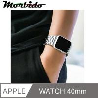 (Morbido)Apple Watch Stainless Steel Triple Bead Butterfly Buckle Strap - Gift Dispenser (Starry Silver - 40mm)