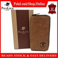 Original Polo Louie Men Genuine Leather Long Zip Wallet Men Wallet Zipper Card Slot Dompet Lelaki