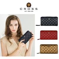 (cross)CROSS top calf leather rhomboid zipper long clip in various colors
