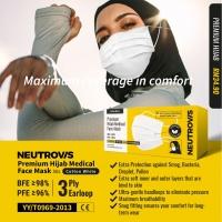 Neutrovis 3 PLY Head Loop Premium HIJAB Medical Face Mask ( Cotton White ) 50's