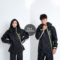 OutPerform Odmund-Go to the Rain Double Zipper Two-section Raincoat-Black/Black