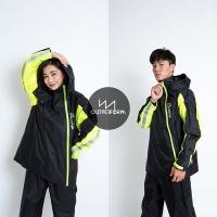 OutPerform Odmund-Go to the Rain Double Zipper Two-section Raincoat-Black/Fluorescent