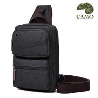 (CAMO)Pina. CAMO] Korean canvas shoulder bag portable chest bag (black)