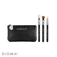 [Sigma] Glam N Go Mini Eye Brush Set, 3-piece set (with leather cosmetic bag)
