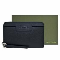 (LONGCHAMP)LONGCHAMP LE PLIAGE N?O series scratch-resistant cowhide zipper middle clip (black)