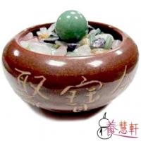 【養慧軒】鶯歌陶瓷聚寶盆(瓶身直徑13cm)+五行水晶碎石+東菱玉圓球