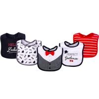 美國 luvable friends 嬰幼兒吸水口水巾圍兜5入組_紅色領結(LF75512)