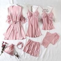 Korean version of ice silk sexy pajamas 7-piece set - pink (L)