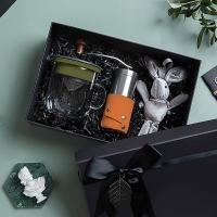 【PO:Selected】丹麥手沖咖啡禮盒組(手動咖啡磨-咖/咖啡玻璃杯350ml-黑綠)
