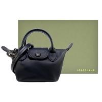 (LONGCHAMP)LONGCHAMP LE MINI PLIAGE CUIR Series Lambskin Short Handle Dumpling Bag (Super Mini/Black)