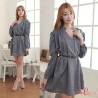 [EE-LADY] Korean temperament simple V-neck umbrella long-sleeved dress (with belt)