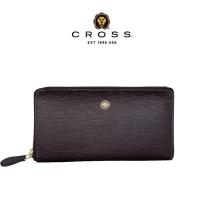 (cross)CROSS Top NAPPA Calfskin Anti-scratch Cross Pattern Zipper Long Clip (Brown)