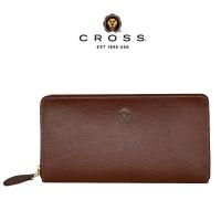 (cross)CROSS Top NAPPA Calfskin Anti-scratch Cross Pattern Zipper Long Clip (Amber)