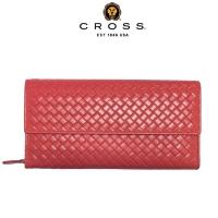 (cross)CROSS Top NAPPA Lambskin Woven Pattern Button Zipper Long Clip (Pink)