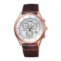 (citizen)CITIZEN GENTS fashion three-eye chronograph light kinetic energy men's belt watch / AT2362-02A