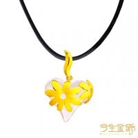 (今生金飾)This life gold ornaments embrace the love gold pendant with leather cord