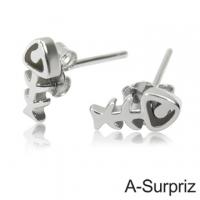(A-Surpriz )A-Surpriz cute mini fishbone sterling silver earrings