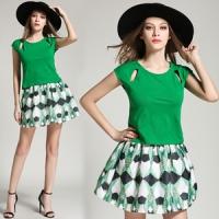 (【韓國K.W.】)[KW] KQ151 Korean small fragrant wind short-sleeved shirt printing plain skirt suit