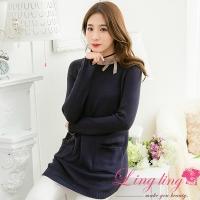Lingling medium size A3970-01 wild casual plain knit double pocket wool long version shirt (intelligent dark blue)