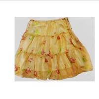 (GIFT)GIFT-light yellow-chiffon floral print midi skirt