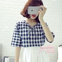 (Isabella)【Isabella】 K700 Plaid T-Shirt (Japanese Blue)