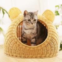 (犬心犬意)Rattan pet nest bear ear mat pet nest