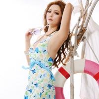 [TAITRA] 【AimeeToff】Butterflies Tie Back Romantic One-Piece Swimsuit (Blue)