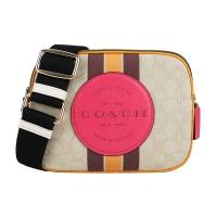 COACH Embossed LOGO Contrast Jacquard Straight Weave Fabric Crossbody Camera Bag (Khaki)