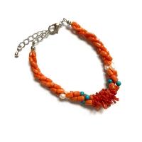 (city diamond)City Diamond Yinya [Coral Reef Series] Coral Pearl Turquoise Woven Bracelet